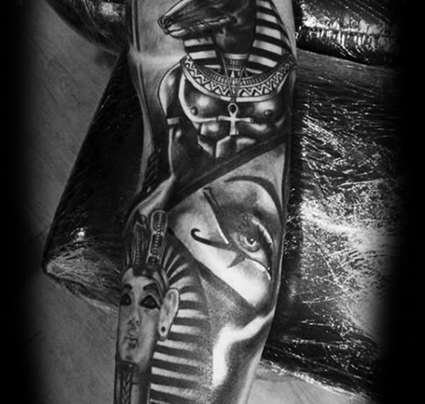 Pyramid Ancient Egyptian Themed Eye Of Horus Sleeve Tattoos For Men