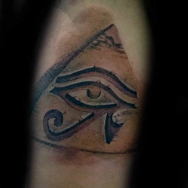 Pyramid Eye Of Horus Stone 3d Tattoo On Mens Arms