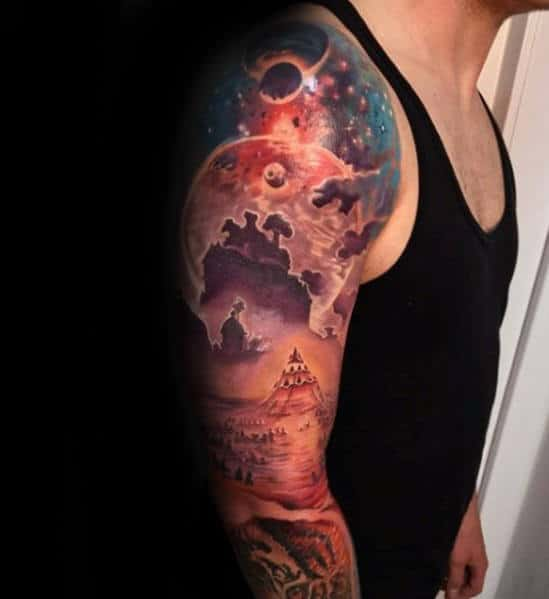 Pyramid With Colorful Outer Space Sky Guys 3d Sleeve Tattoo