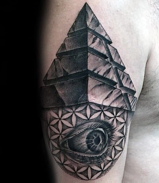 Pyramid With Flower Of Life And Eye Mens Upper Arm Tattoo