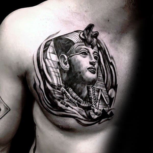 Pyramids King Tut Mens Upper Chest Tattoos