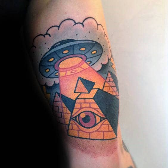 Pyramids With Eye Mens Traditional Quarter Sleeve Tattoo