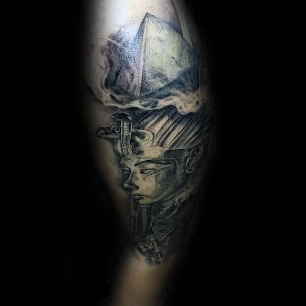 Pyraminds With King Tut Male Upper Arm Shaded Tattoo Ideas