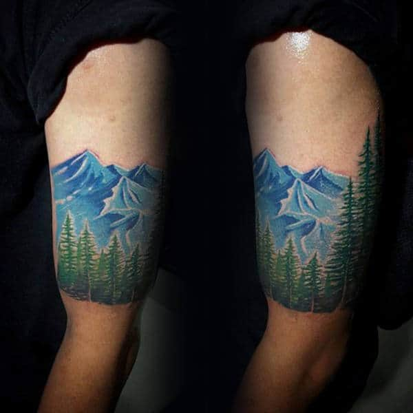 Quarter Green Pine Tree Sleeve With Blue Ink Mountains For Men