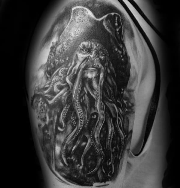 Quarter Sleeve 3d Guys Tattoo Ideas Davy Jones Designs
