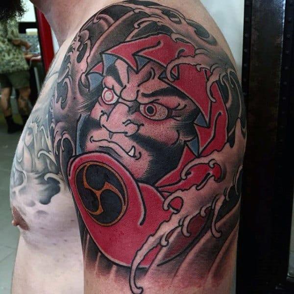 Quarter Sleeve And Chest Daruma Doll Tattoo On Gentleman