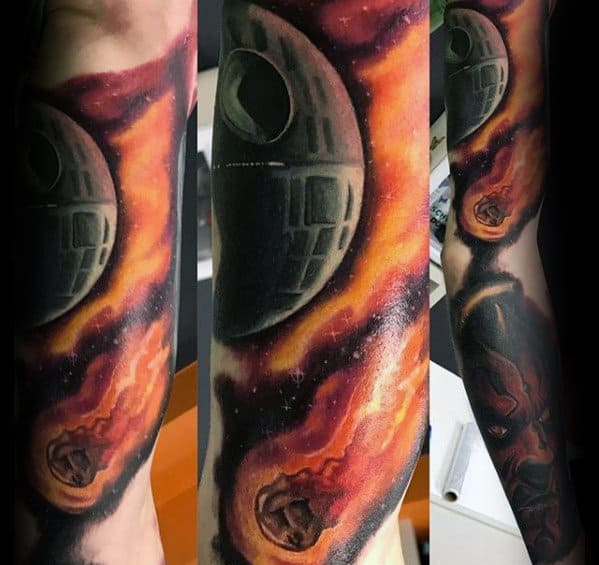 Quarter Sleeve Astroid Outer Space Male Death Star Tattoo Ideas
