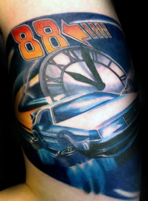 Quarter Sleeve Back To The Future Mens Tattoo Ideas