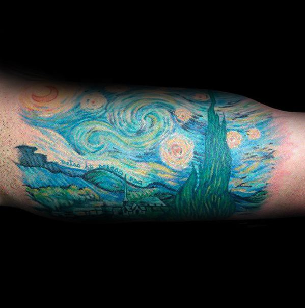 Quarter Sleeve Bicep Guys Vincent Van Gogh Tattoos