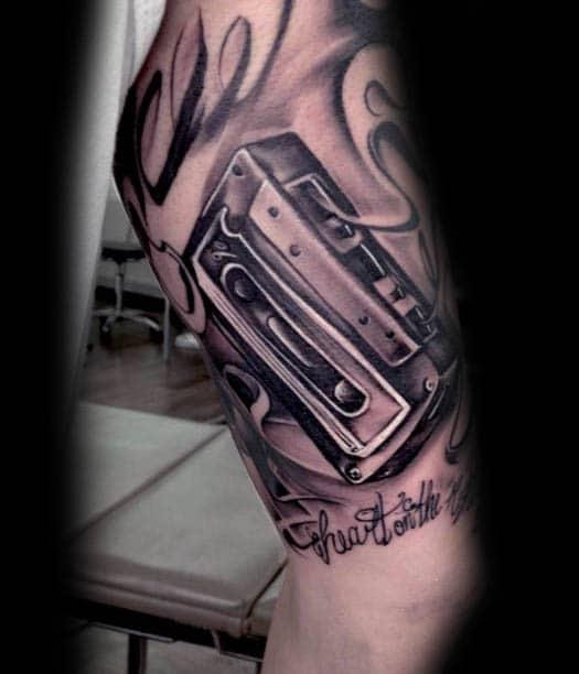 50 Cassette Tape Tattoo Designs For Men Retro Ink Ideas