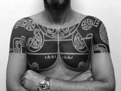Quarter Sleeve Chest And Shoulder Mens Tribal Tattoos
