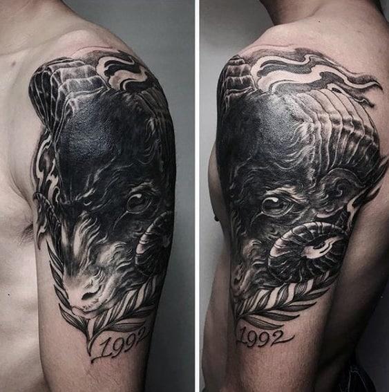Quarter Sleeve Creative Sheep Tattoos For Men