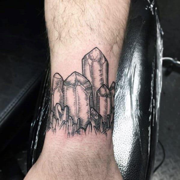 Quarter Sleeve Crystal Themed Mens Leg Tattoo Ideas