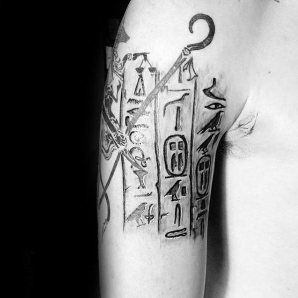Quarter Sleeve Egyptian Hieroglyphics Guys Tattoo Ideas
