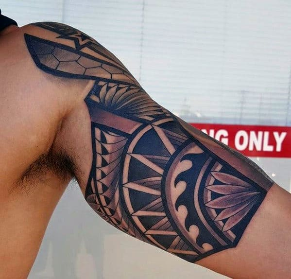 Quarter Sleeve Great Mens Tribal Tattoo Design Ideas
