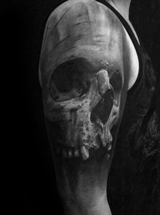 Quarter Sleeve Guys Realistic Skull Heavily Shaded Tattoos