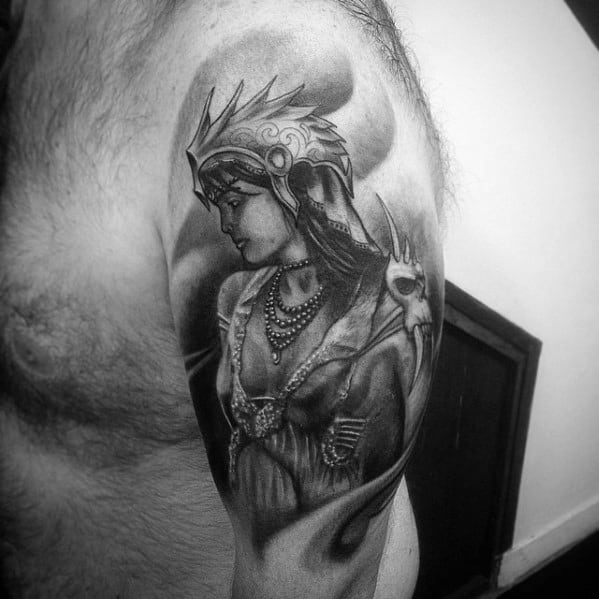 Quarter Sleeve Guys Valkyrie Tattoo Design Idea Inspiration
