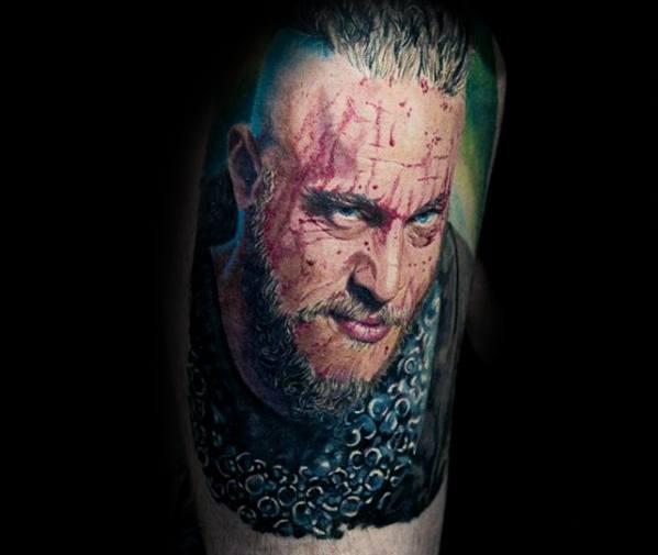 Quarter Sleeve Incredible Ragnar Tattoos For Men