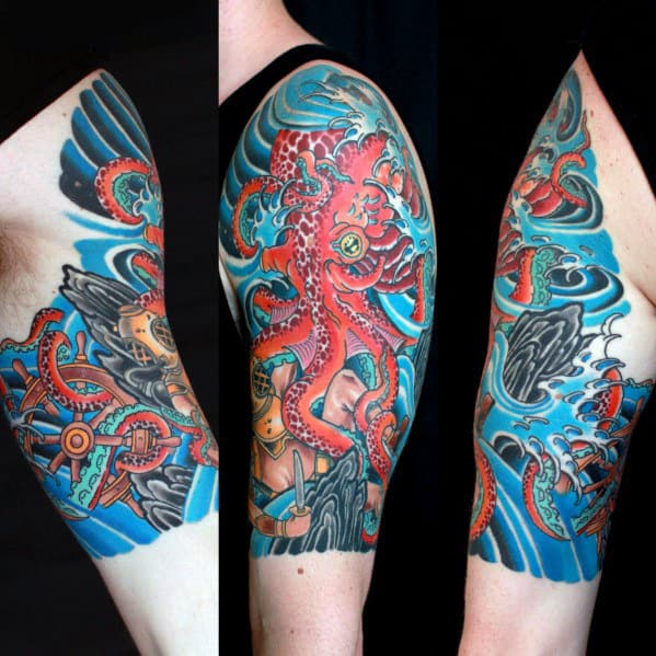 Quarter Sleeve Japanese Octopus Mens Tattoos