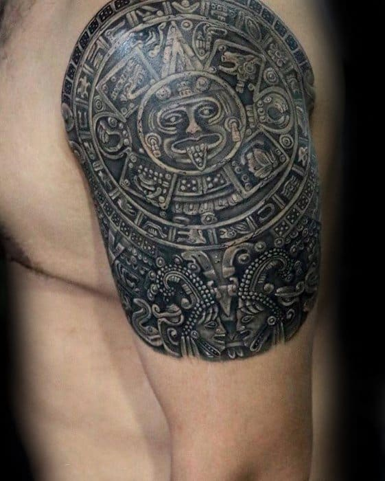 Quarter Sleeve Mayan Calender Tattoo Ideas For Males