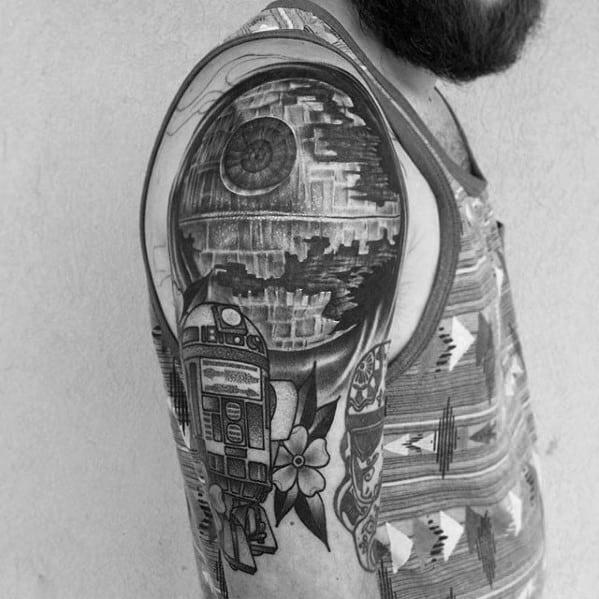 Quarter Sleeve Mens Death Star R2d2 Tattoo
