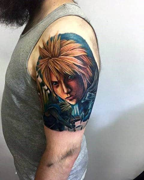 quarter sleeve mens final fantasy video game tattoo