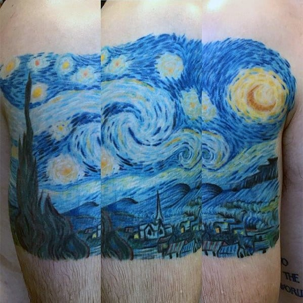 Quarter Sleeve Mens Starry Night Tattoo Designs