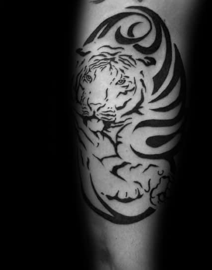 Quarter Sleeve Mens Tribal Tiger Tattoos
