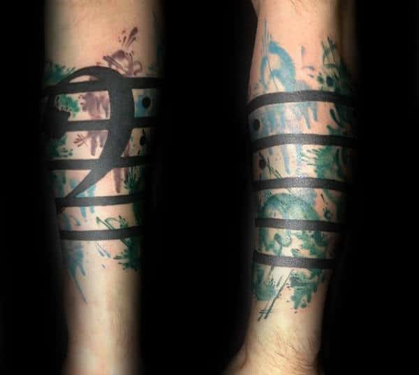 Quarter Sleeve Music Note Watercolor Black Lines Mens Tattoo Ideas On Forearm