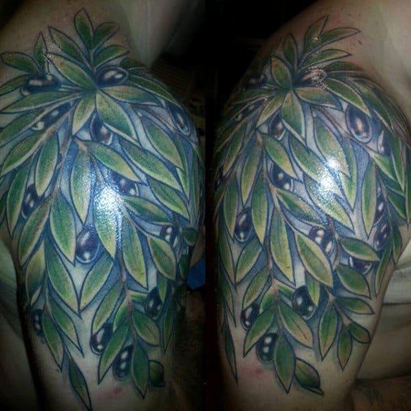 Quarter Sleeve Olive Tree Mens Tattoo Ideas