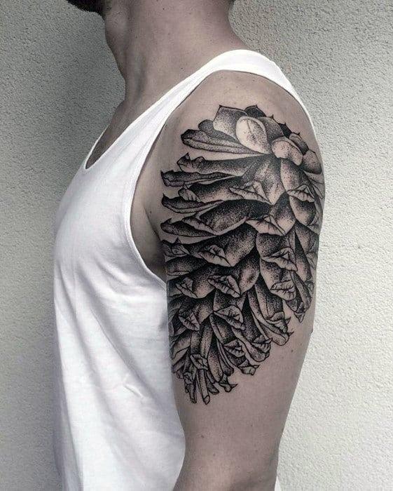 Quarter Sleeve Pine Cone Tattoo Ideas For Men