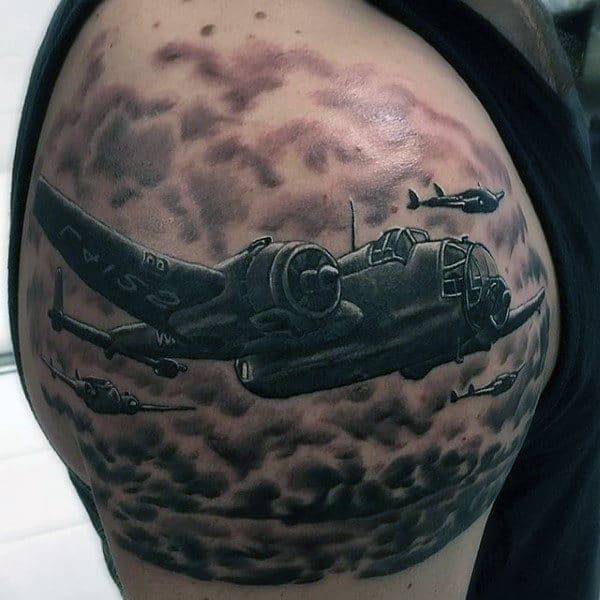 Quarter Sleeve Plane Ww2 Male Tattoos