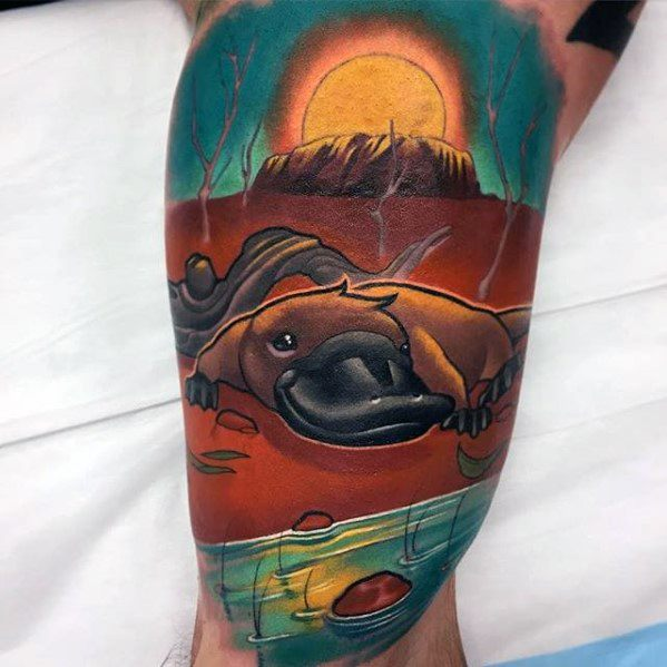 Quarter Sleeve Platypus Male Tattoo Ideas