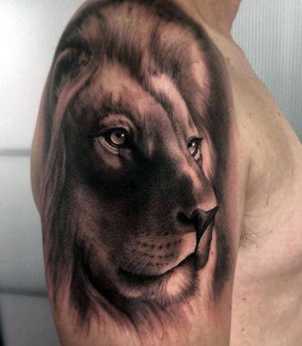 Quarter Sleeve Realistic Lion Tattoo For Guys