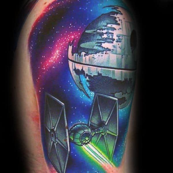 Quarter Sleeve Sharp Death Star Male Tattoo Ideas