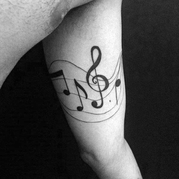 Quarter Sleeve Simple Mens Music Staff Tattoo Design Ideas