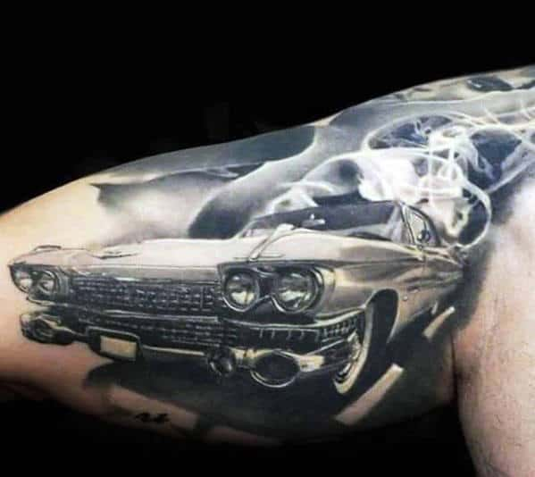 Quarter Sleeve Smoking Cadillac Car Mens Realistic 3d Tattoo