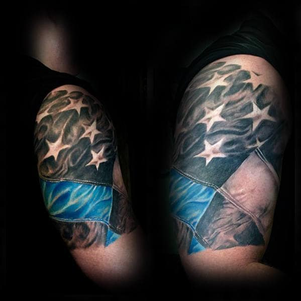 Quarter Sleeve Tattoo Of American Flag With Thin Blue Line On Gentleman