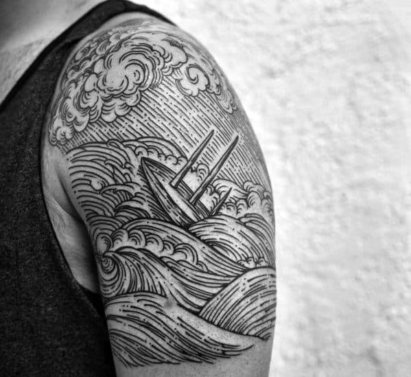 Quarter Sleeve Woodcut Detailed Sinking Ship Mens Tattoo Ideas