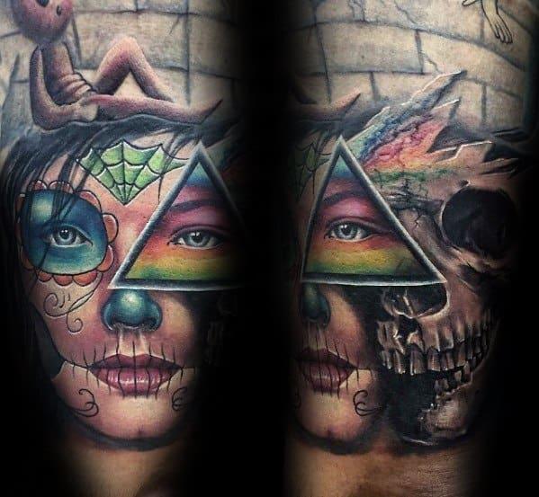 Quater Sleeve Arm Dark Side Of The Moon Skull Day Of The Dead Arm Guys Tattoo Ideas