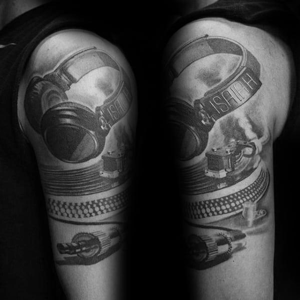 Quater Sleeve Headphones Tattoo Design On Man