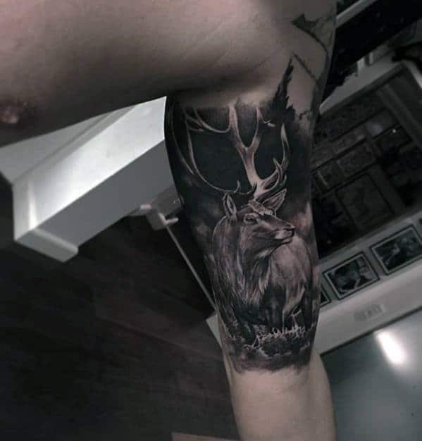 Quater Sleeve Hyper Realistic Deer Guys Tattoo Design Ideas
