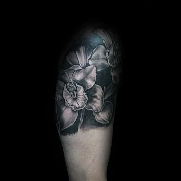 Quater Sleeve Mens Orchid Flower Tattoo Ideas