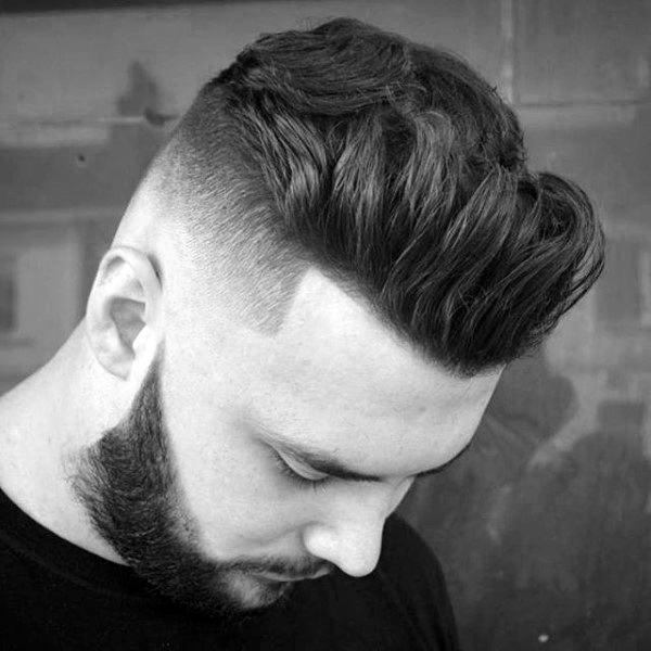 Quiff Medium Length Skin Fade Haircut For Males