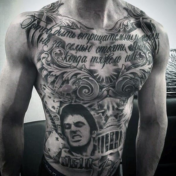 Quote Chicano Mens Chest Tattoos