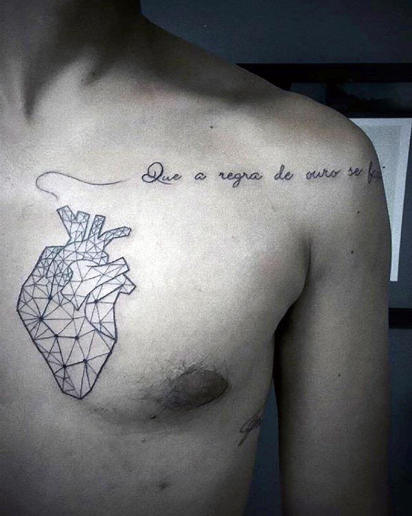 Quote Geometric Heart Mens Chest Tattoos