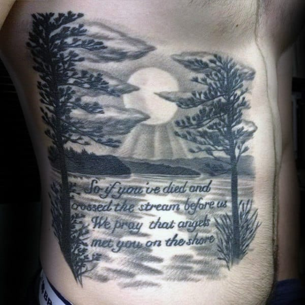 Quote Landscape Sunset Male Rib Cage Side Tattoo