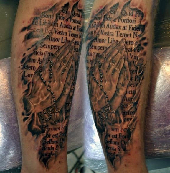 Quote Male Tattoos Praying Hands Rosary