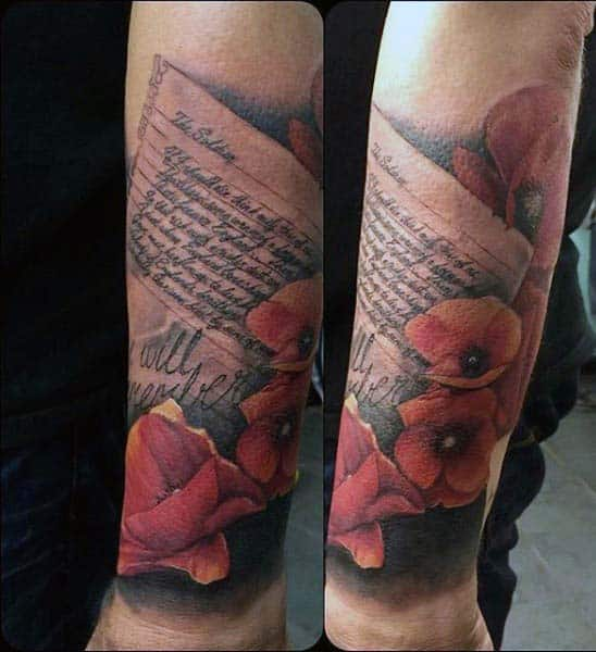 Quote Poppy Tattoo For Men On Wrist