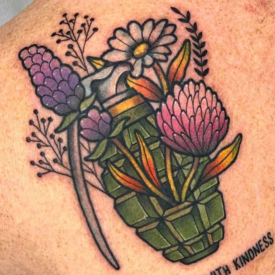 Color tattoo flowers grenade quote script daisy